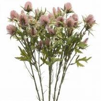 Fiore di stelo artificiale di cardo rosa 10 teste di fiori 68 cm 3 pezzi