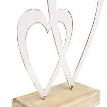 Doppio cuore bianco ai piedi H18cm