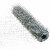 Filo a treccia esagonale, zincato argento, filo di coniglio 50 cm × 10 m
