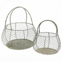 Cestino in filo Shabby Chic Cestino in filo metallico decorazione giardino Ø37 / 26cm set di 2