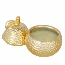"""Candela profumata """"Magnolia & Pear Blossom"""" in una pera portagioie oro Ø7,4cm H9cm"""