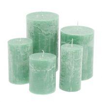 Candele colorate Verde chiaro di diverse dimensioni
