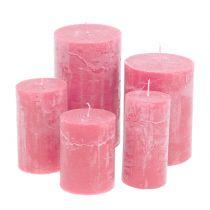 Candele colorate Rosa di diverse dimensioni