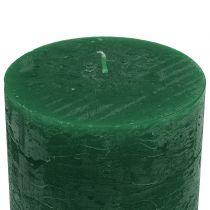 Candele tinta unita verde scuro 50x100mm 4pz