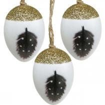 Nobili uova da appendere, primavera, uova di Pasqua con motivo primaverile, uova decorative in scatola di legno, decorazioni di Pasqua 6pz
