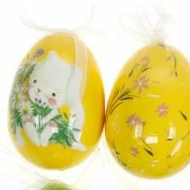 Bouquet di Pasqua decorativo uovo da appendere giallo, verde assortito H7cm 6 pezzi
