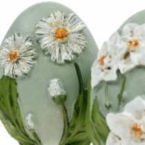 Uova di Pasqua con margherite motivo floreale e narcisi blu, gesso verde assortite 2pz