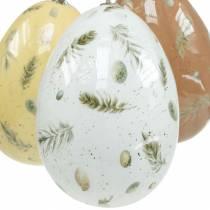 Uova di Pasqua da appendere con uova a motivo e piume bianche, marroni, gialle assortite 3pz