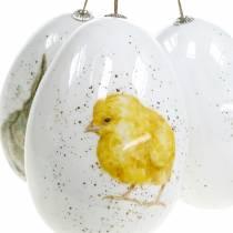Uova di Pasqua da appendere con motivi animali pulcino, uccellino, coniglio bianco assortito 3pz