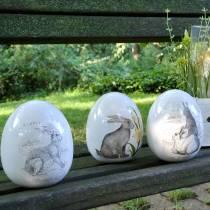 Uovo in ceramica bianco con motivo coniglio Ø12,5cm H16cm 2 pezzi