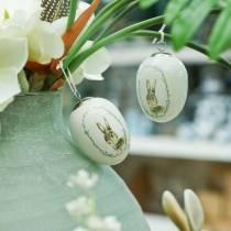 Uovo per appendere coniglio bianco in ceramica Ø5,5 cm H7,6 cm 12 pezzi
