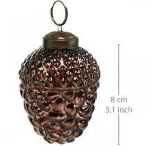 Coni decorativi in vetro ghianda marroni per appendere decorazioni dell'Avvento 5,5 × 8 cm 12 pezzi