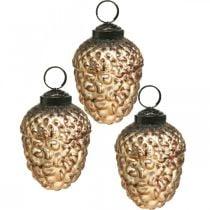 Coni decorativi vintage in vetro ghianda decorazioni per l'albero di Natale 5,5 × 8 cm 12 pezzi