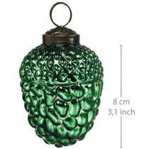 Ghianda vetro verde autunno decorazione coni decorazioni albero di Natale 5,5 × 8 cm 12 pezzi