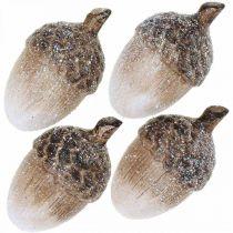 Ghiande decorative ricoperte di neve, addobbi in ceramica, Avvento, addobbi autunnali invernali L9,5 4pz