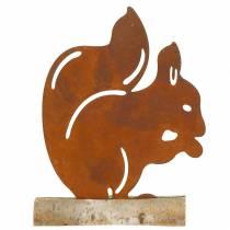 Scoiattolo ruggine sulla base in legno 19 cm x 25 cm