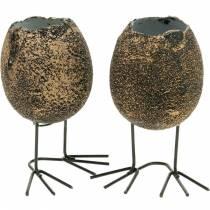 Guscio d'uovo per piantare con gambe, uovo di Pasqua, uovo con zampe d'uccello, decorazione pasquale nera dorata 4 pezzi