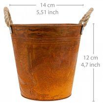 Vaso per piante, decorazione autunnale, vaso in metallo con patina Ø14cm H12cm