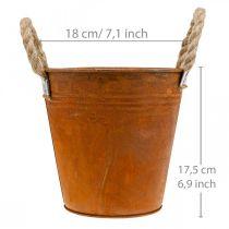Portavasi con patina, vaso in metallo, decorazione autunnale Ø18cm H17.5cm