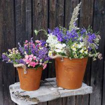 Vaso in metallo con manici, vaso per erbe, decoro ruggine Ø16.5cm H15cm