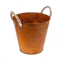 Fioriera con manici, vaso per fioriera, vaso in metallo con decoro ruggine Ø25cm H24cm