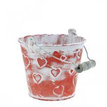 Secchio in metallo per piantare secchio con motivo a cuore Secchio per piante per la festa della mamma Ø13,5 cm