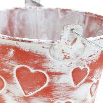 Secchio decorativo decoro cuore, vaso in metallo, San Valentino, manico secchio Ø12cm