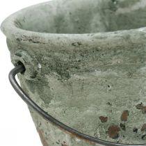 Secchio per piantare, vaso in ceramica, decorazione del secchio, ottica antica Ø11,5 cm H10,5 cm 3 pezzi