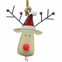 Ciondolo natalizio testa di alce con campana 11,5 cm rosso, beige 3 pezzi
