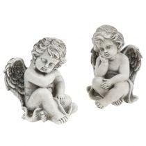 Angelo decorativo in grigio seduto 13,5 cm 2 pezzi