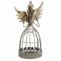 Angelo decorativo in metallo oro antico Ø9,2 H22cm