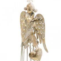 Figura di angelo con cuore, decorazione natalizia in metallo, decorazione angelo anticato-oro H38cm