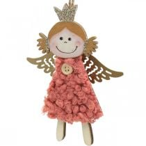 Angeli da appendere, addobbi natalizi, addobbi albero di natale rosa/rosa/blu/bianco H12cm set da 4