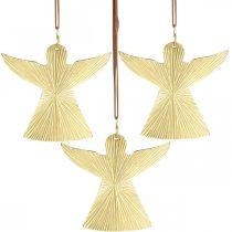 Angelo decorativo, ciondolo in metallo, decorazione natalizia dorata 9 × 10 cm 3 pezzi