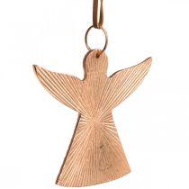 Angeli da appendere, addobbi Avvento, addobbi in metallo color rame 9×10cm 3pz