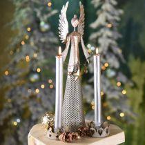 Figura di angelo decorativo con ghirlanda di Natale in metallo 13 × 8,5 cm H40 cm