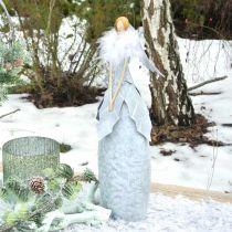 Figura decorativa di angelo con boa di piume decorazione in metallo grigio Natale 38cm