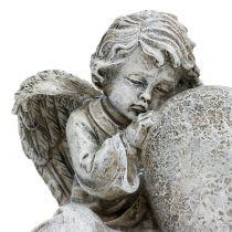 Angelo con cuore grigio 11,5 cm × 9 cm × 6,5 cm 2 pezzi