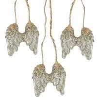 Ali d'angelo da appendere in glitter oro 5 cm × 5,2 cm 12 pezzi