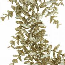 Ghirlanda decorativa eucalipto artificiale dorato, innevato Ø36cm