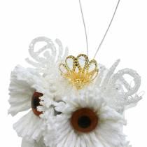 Gufo decorativo con corona da appendere bianco, glitter 6,5 × 8 cm 6 pezzi.