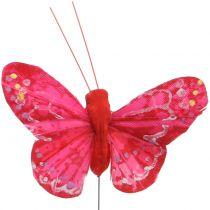 Farfalla piuma arancione-rossa 5cm 24 pezzi