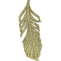 Piume decorative, decorazioni per alberi con glitter, decorazioni per l'avvento, piume per appendere dorate L22cm 12 pezzi