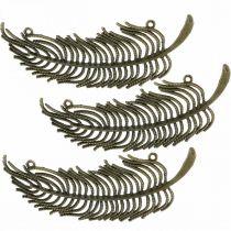 Piume decorative, ciondoli gioielli, piume in metallo, colori bronzo sparsi L8cm 10 pezzi