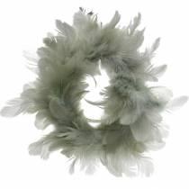 Ghirlanda di piume decorative grigio Ø18cm Decorazione pasquale con piume vere