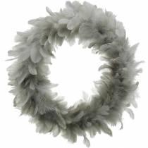 Decorazione di Pasqua ghirlanda primaverile grande grigio chiaro Ø40cm decorazione primaverile con piume vere