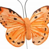 Farfalla gialla arancione su filo 7 cm filo 24 pezzi
