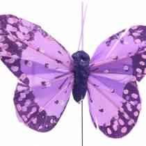 Farfalla con piume su filo rosa, viola 7 cm 24 pezzi