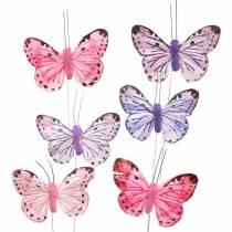 Filo metallico piuma farfalla rosa, viola 7cm 12 p