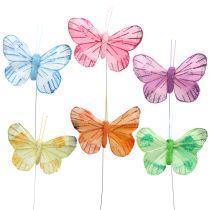 Farfalla piuma su filo colorato 6cm 12pz